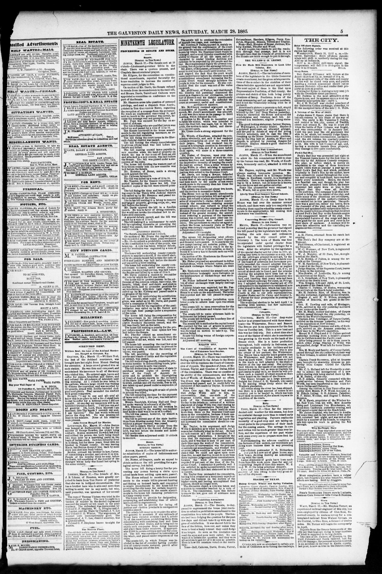 The Galveston Daily News  (Galveston, Tex ), Vol  43, No  338, Ed  1