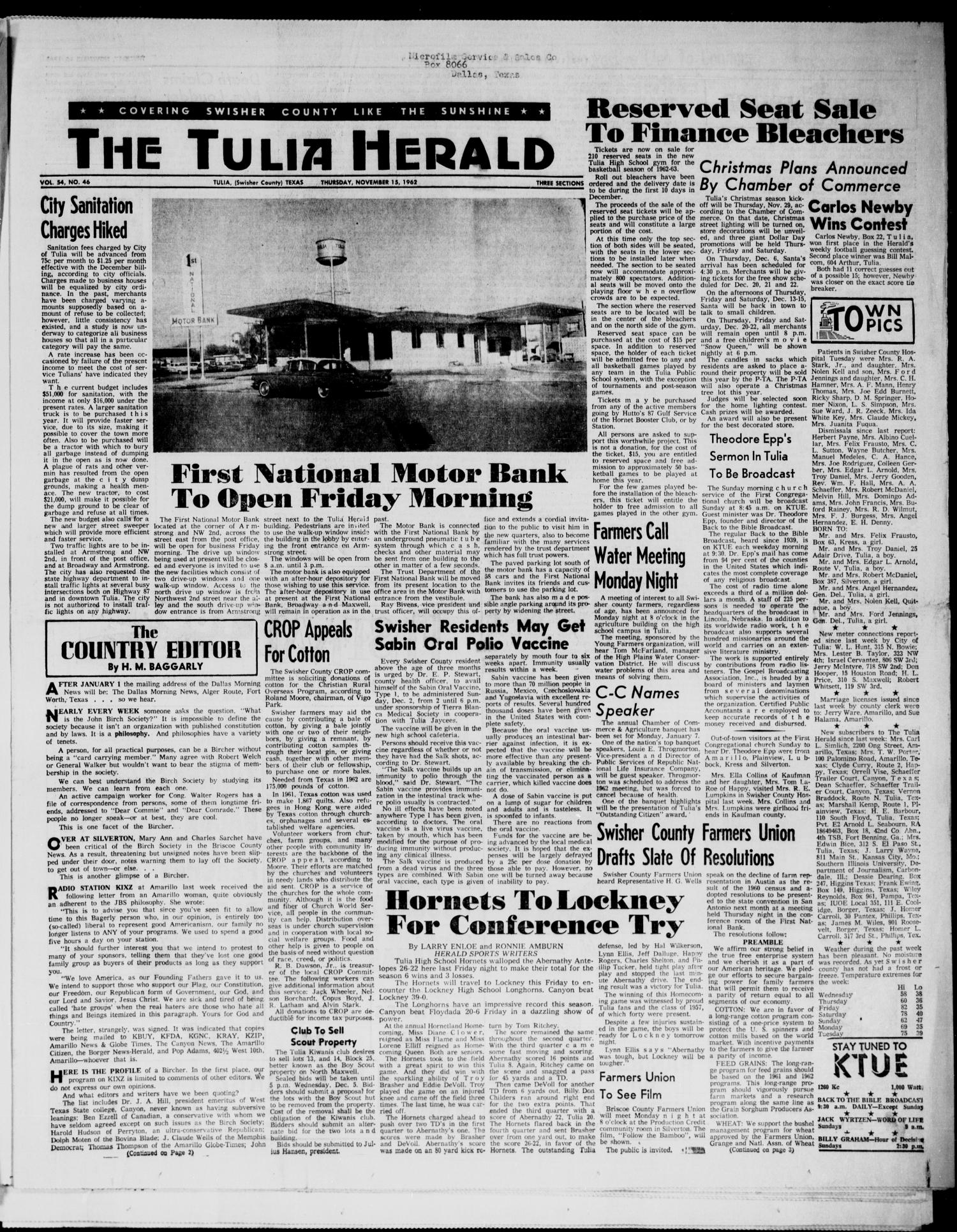 The Tulia Herald (Tulia, Tex), Vol. 54, No. 46, Ed. 1, Thursday, November 15, 1962                                                                                                      1