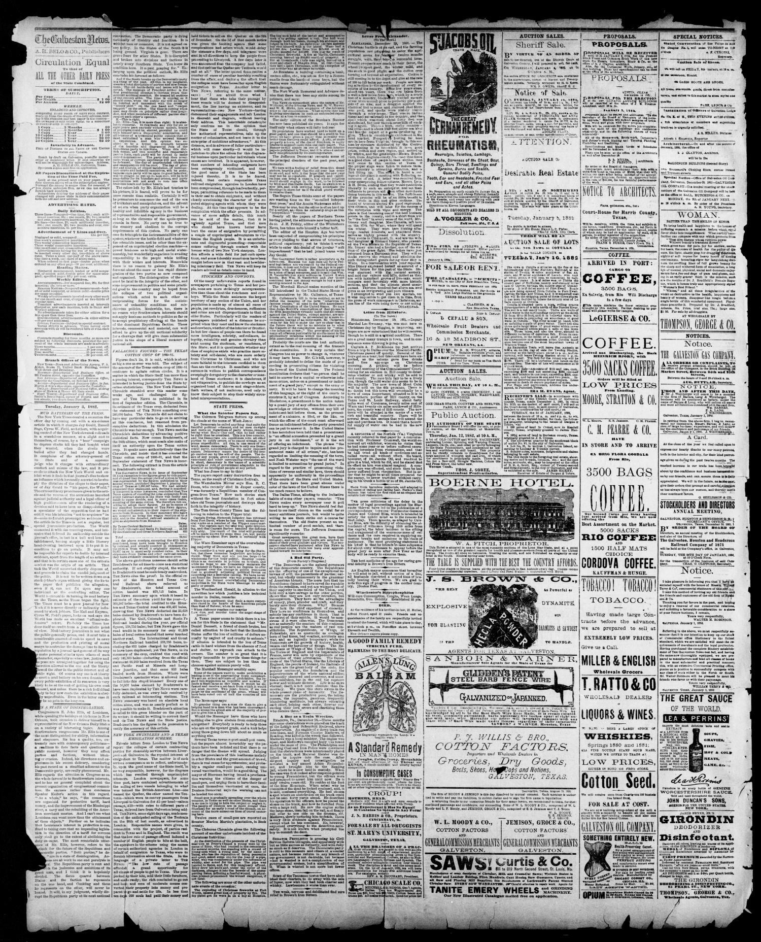 The Galveston Daily News. (Galveston, Tex.), Vol. 40, No. 245, Ed. 1 Tuesday, January 3, 1882                                                                                                      [Sequence #]: 2 of 4