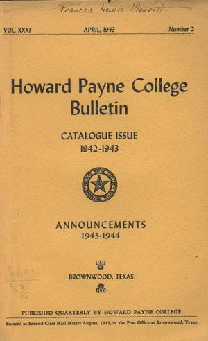 Primary view of object titled 'Catalogue of Howard Payne College, 1942-1943'.