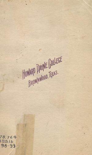 Primary view of object titled 'Catalogue of Howard Payne College, 1898-1899'.