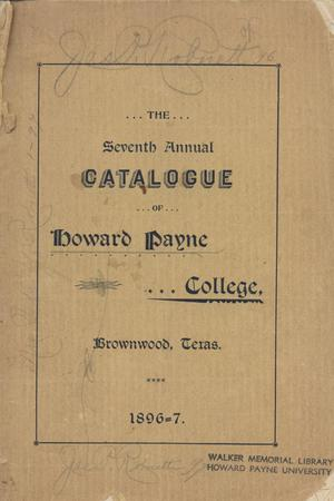 Primary view of object titled 'Catalogue of Howard Payne College, 1896-1897'.
