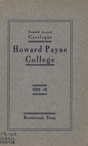 Catalogue of Howard Payne College, 1909-1910