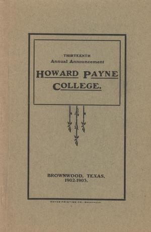 Primary view of object titled 'Catalogue of Howard Payne College, 1902-1903'.