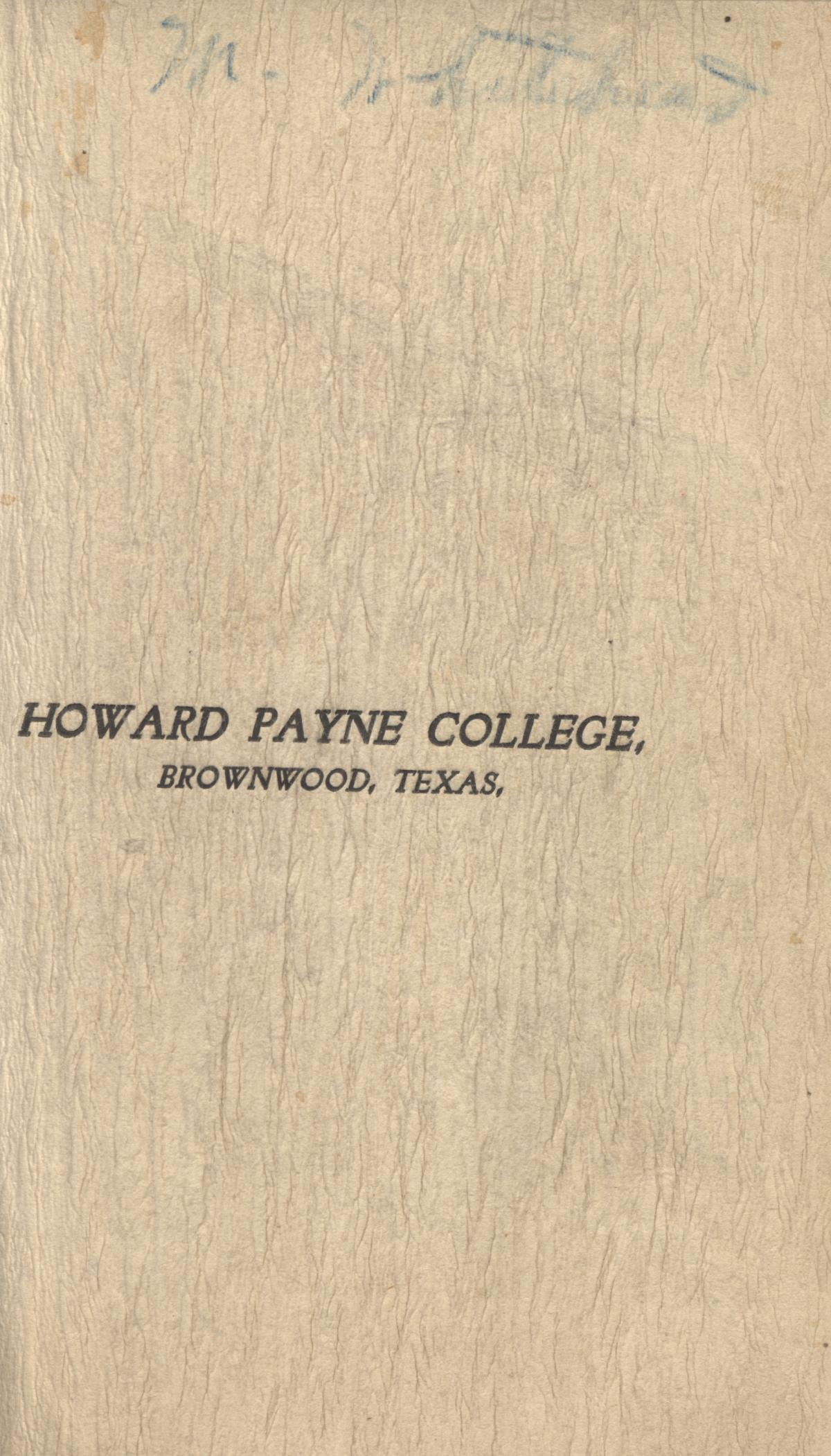 Catalogue of Howard Payne College, 1900-1901                                                                                                      Front Cover