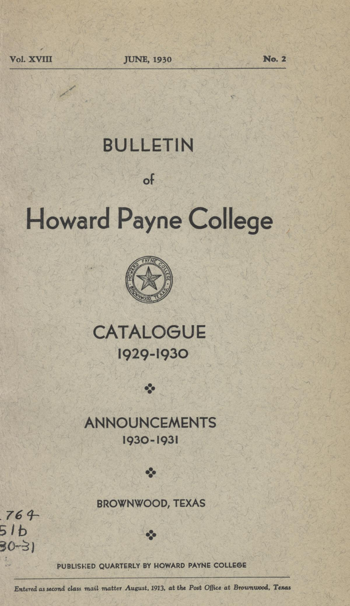 Catalogue of Howard Payne College, 1929-1930                                                                                                      Front Cover