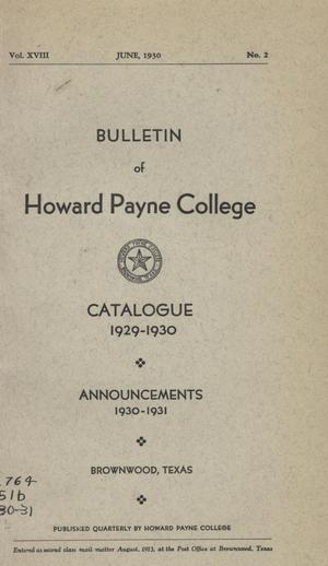 Primary view of object titled 'Catalogue of Howard Payne College, 1929-1930'.