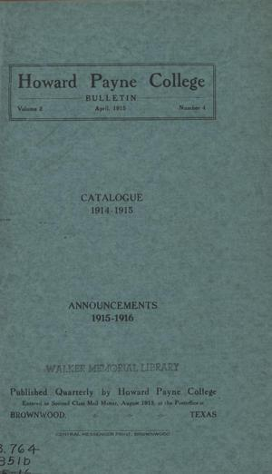 Primary view of object titled 'Catalogue of Howard Payne College, 1914-1915'.