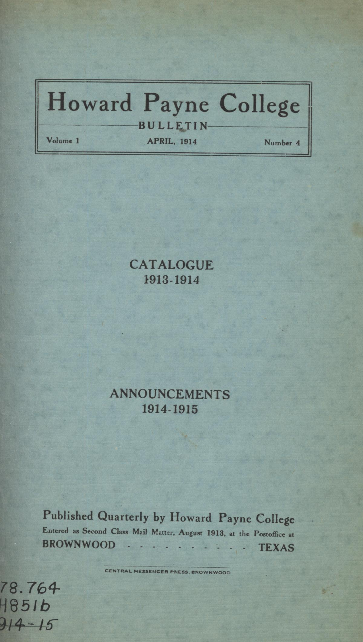 Catalogue of Howard Payne College, 1913-1914                                                                                                      Front Cover