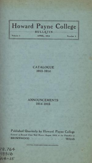 Primary view of object titled 'Catalogue of Howard Payne College, 1913-1914'.