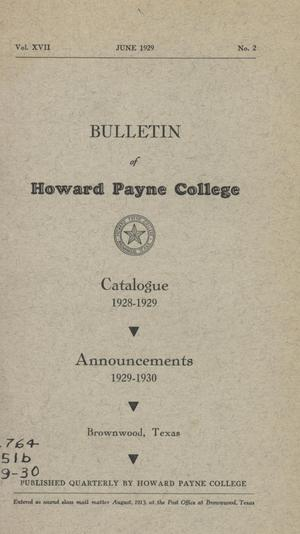 Primary view of object titled 'Catalogue of Howard Payne College, 1928-1929'.