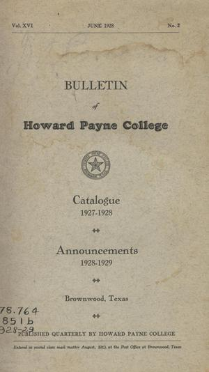 Primary view of object titled 'Catalogue of Howard Payne College, 1927-1928'.