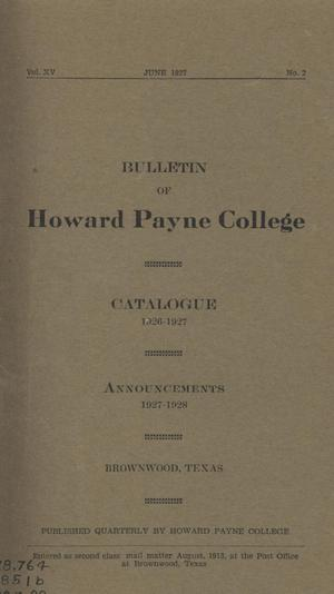 Primary view of object titled 'Catalogue of Howard Payne College, 1926-1927'.
