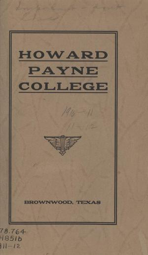Primary view of object titled 'Catalogue of Howard Payne College, 1911-1912'.
