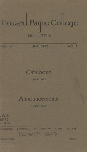 Primary view of object titled 'Catalogue of Howard Payne College, 1924-1925'.
