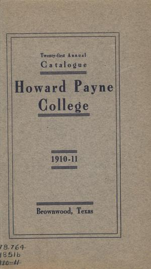 Primary view of object titled 'Catalogue of Howard Payne College, 1910-1911'.