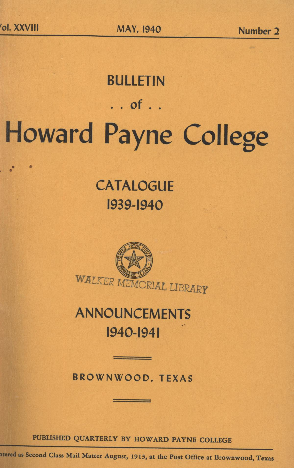 Catalogue of Howard Payne College, 1939-1940                                                                                                      Front Cover