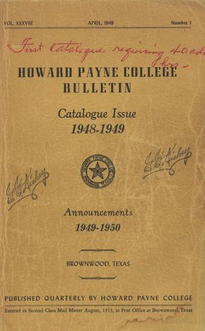 Primary view of object titled 'Catalogue of Howard Payne College, 1948-1949'.