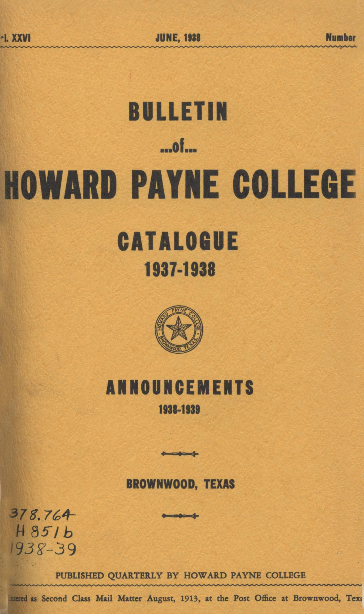 Catalogue of Howard Payne College, 1937-1938                                                                                                      Front Cover