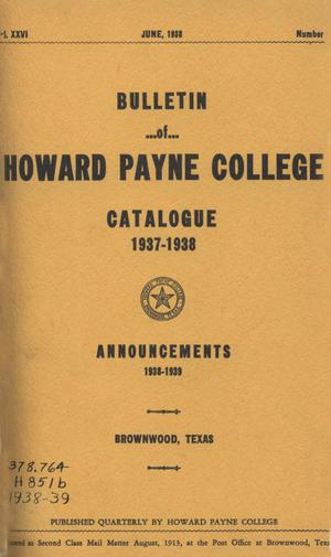 Primary view of object titled 'Catalogue of Howard Payne College, 1937-1938'.