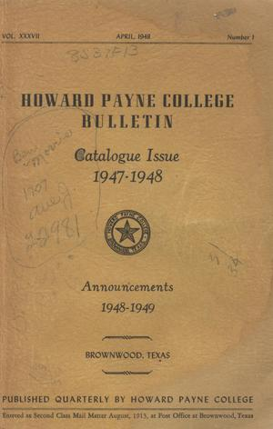 Primary view of object titled 'Catalogue of Howard Payne College, 1947-1948'.