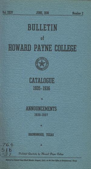 Primary view of object titled 'Catalogue of Howard Payne College, 1935-1936'.