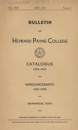 Catalogue of Howard Payne College, 1934-1935