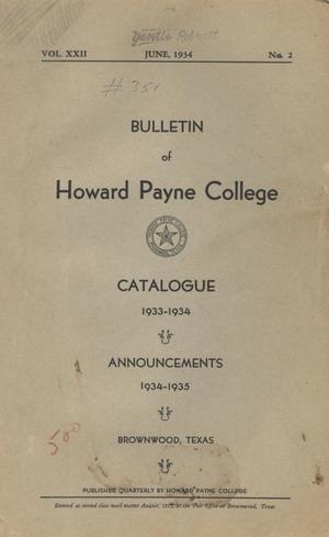 Primary view of object titled 'Catalogue of Howard Payne College, 1933-1934'.