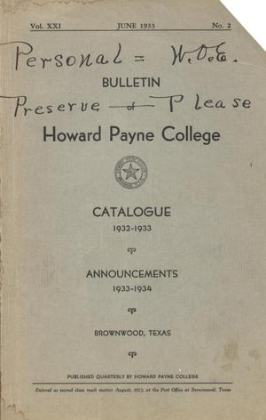 Primary view of object titled 'Catalogue of Howard Payne College, 1932-1933'.