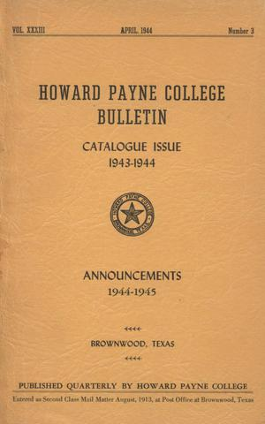 Primary view of object titled 'Catalogue of Howard Payne College, 1943-1944'.