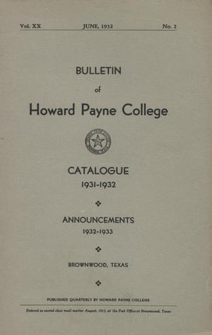 Primary view of object titled 'Catalogue of Howard Payne College, 1931-1932'.