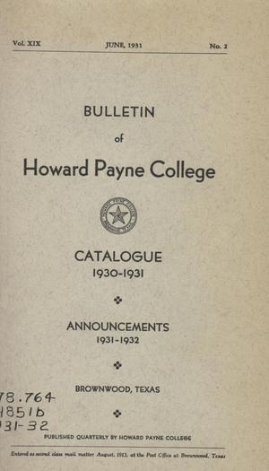 Catalogue of Howard Payne College, 1930-1931
