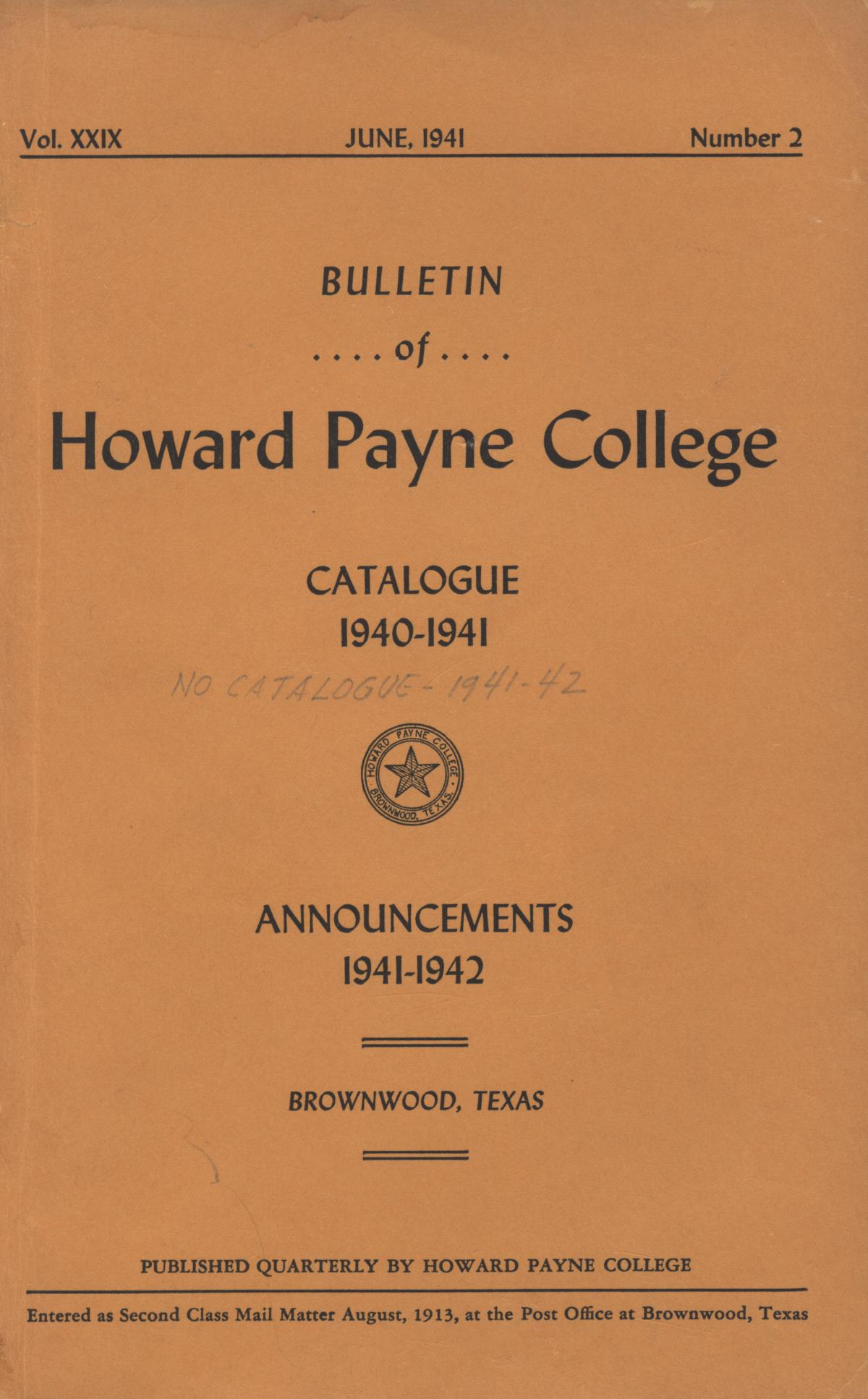 Catalogue of Howard Payne College, 1940-1941                                                                                                      Front Cover