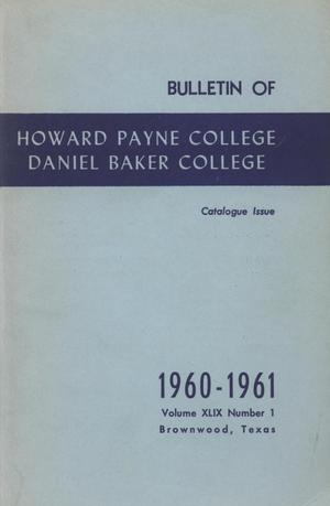 Primary view of object titled 'Catalog of Howard Payne College, 1959-1960'.