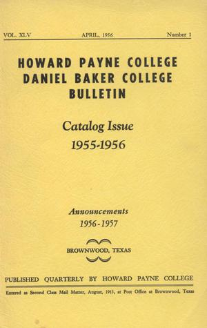 Primary view of object titled 'Catalog of Howard Payne College, 1955-1956'.