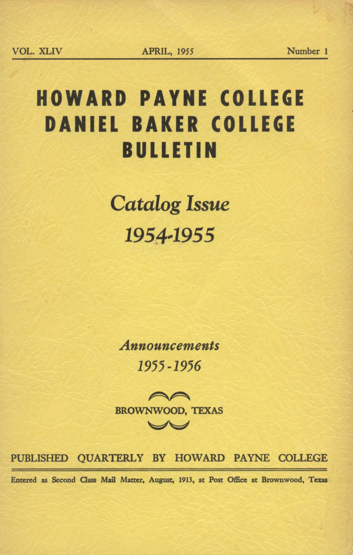 Catalog of Howard Payne College, 1954-1955                                                                                                      Front Cover