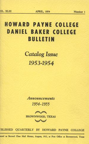 Catalog of Howard Payne College, 1953-1954