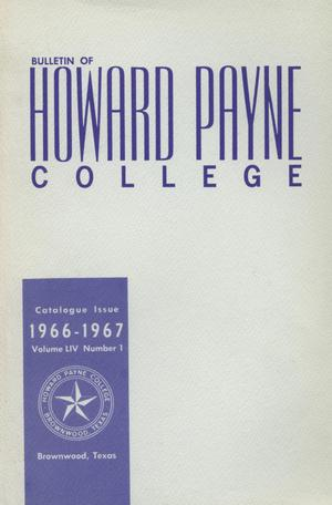 Primary view of object titled 'Catalogue of Howard Payne College, 1965-1966'.