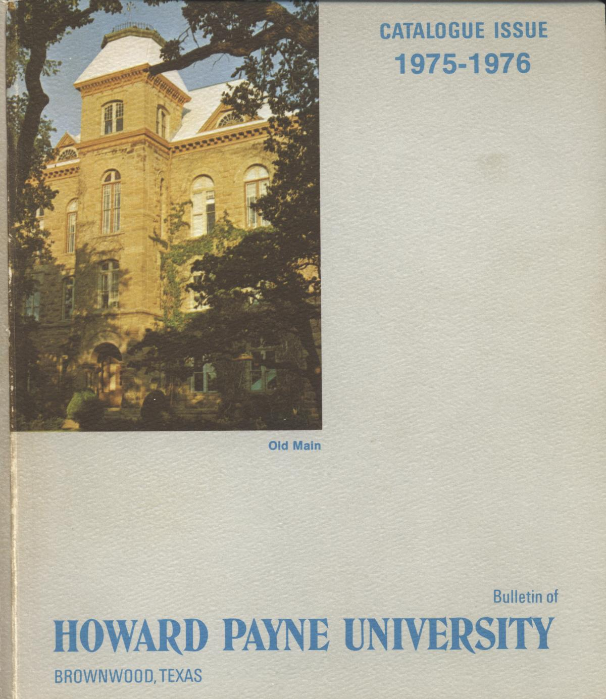 Catalogue of Howard Payne University, 1975-1976                                                                                                      Front Cover