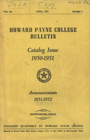 Primary view of object titled 'Catalogue of Howard Payne College, 1950-1951'.