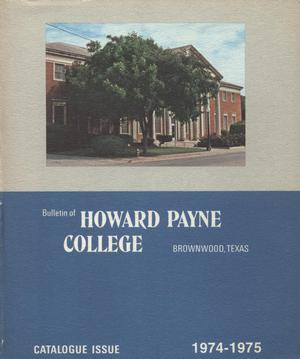 Primary view of object titled 'Catalogue of Howard Payne College, 1974-1975'.