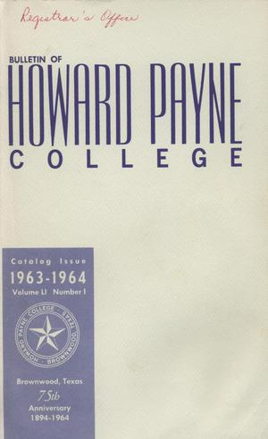 Primary view of object titled 'Catalog of Howard Payne College, 1962-1963'.