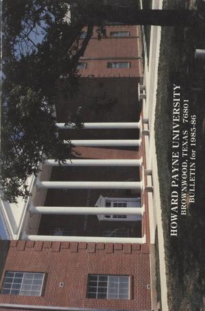 Primary view of object titled 'Catalog of Howard Payne University, 1985-1986'.