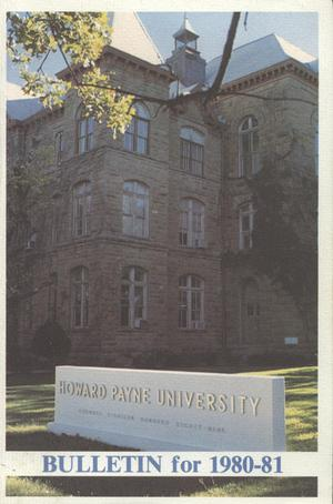 Primary view of object titled 'Catalogue of Howard Payne University, 1980-1981'.
