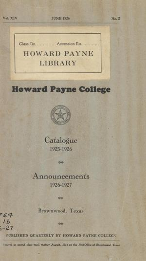 Primary view of object titled 'Catalogue of Howard Payne College, 1925-1926'.