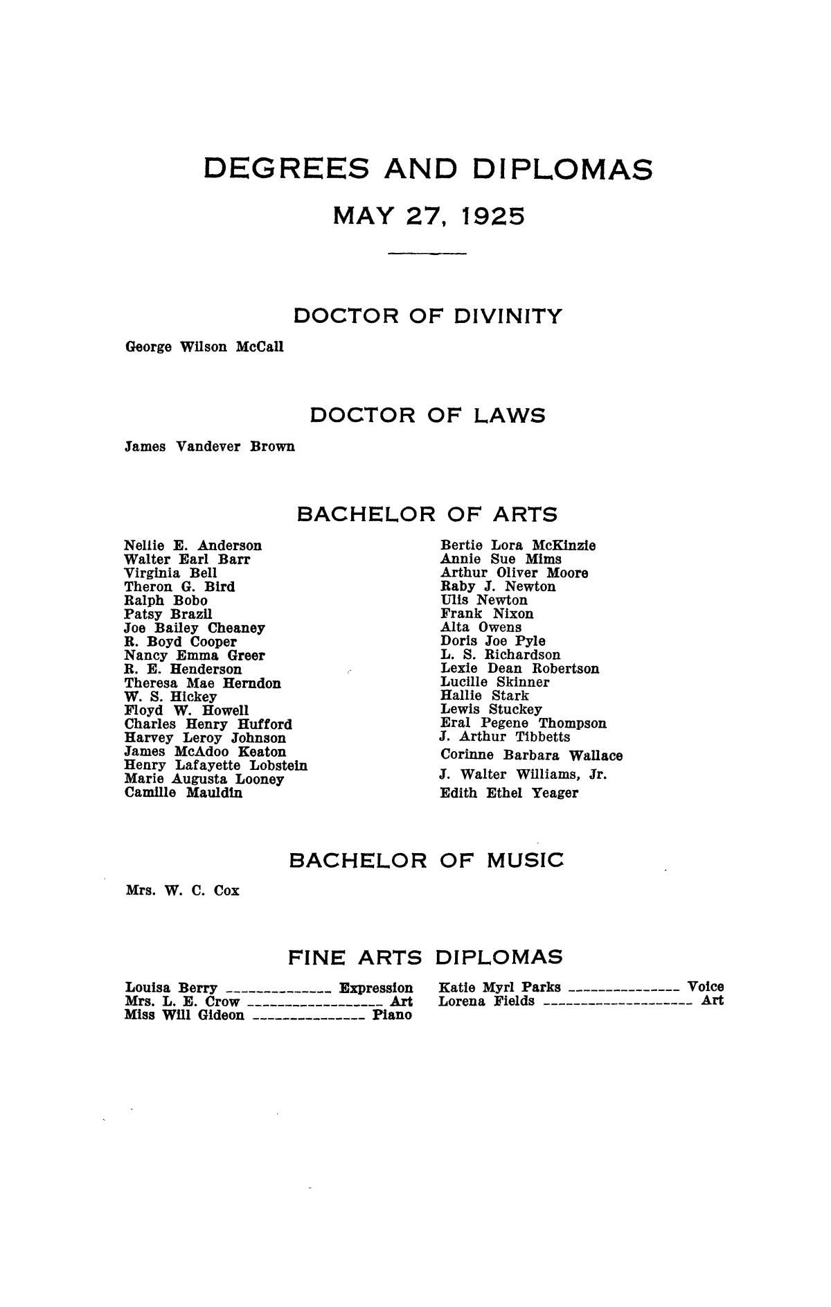 Catalogue of Howard Payne College, 1925-1926                                                                                                      97