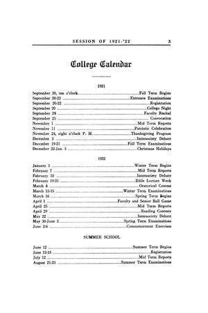 Primary view of object titled 'Catalog of Abilene Christian College, 1921-1922'.