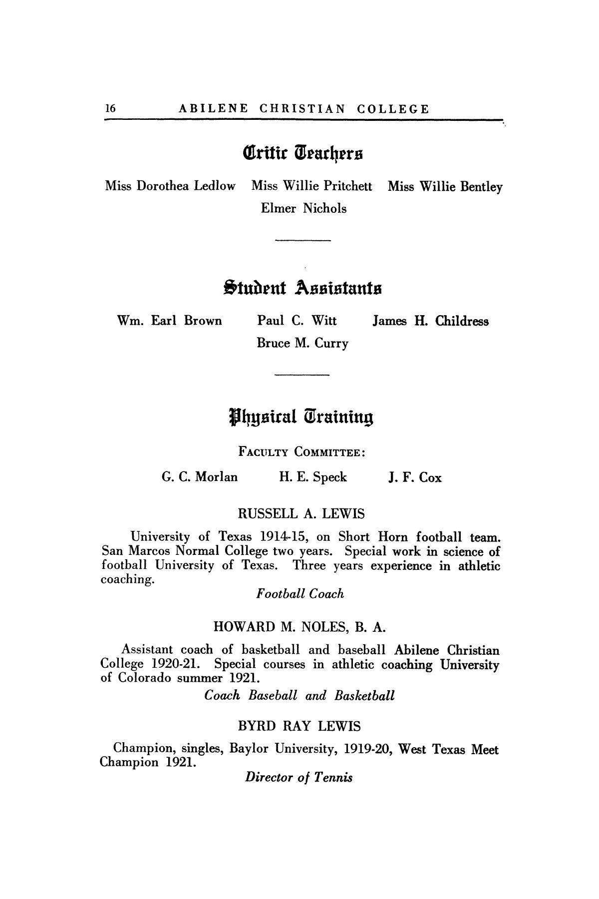 Catalog of Abilene Christian College, 1921-1922                                                                                                      16