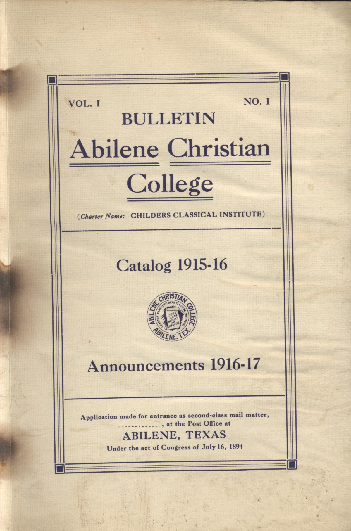 Catalog of Abilene Christian College, 1916-1917                                                                                                      Front Cover