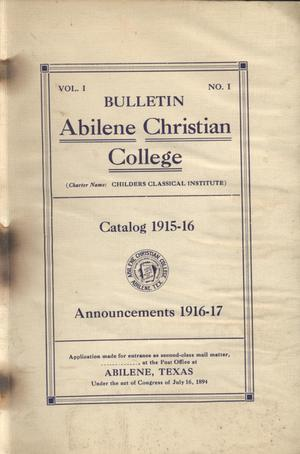 Primary view of object titled 'Catalog of Abilene Christian College, 1916-1917'.